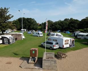 Nethercourt Touring Park, Ramsgate with cars, tents and caravans