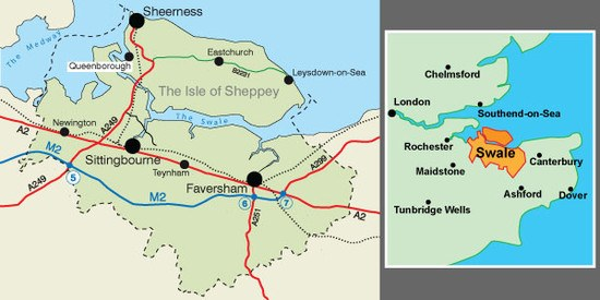 Swale area map - featuring the Isle of Sheppey and Sittingbourne in north Kent